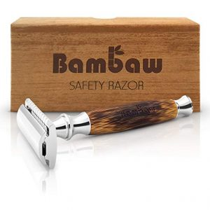 A bamboo safety razor